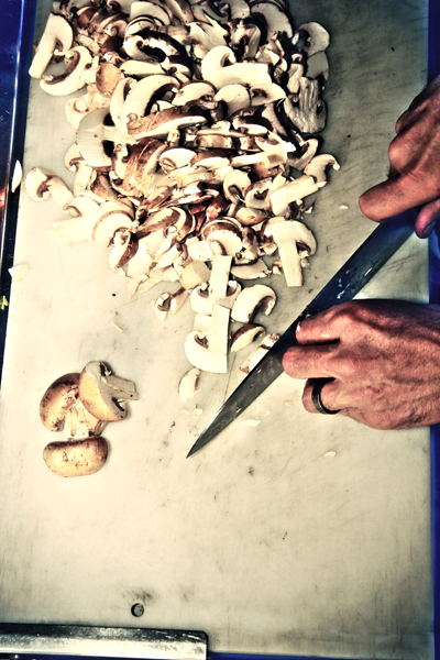 Chopping Mushrooms at Pizza Furiosa Flagstaff Restaurant